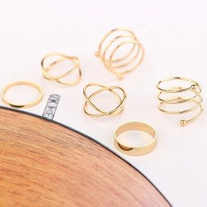 Jewelry - NEW 6 Piece Gold Midi Knuckle Rings Set